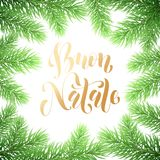 Buon Natale Italian Merry Christmas holiday golden hand drawn calligraphy text for greeting card of wreath decoration and Christma. S fir garland frame. Vector Stock Photo