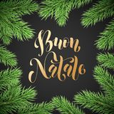 Buon Natale Italian Merry Christmas holiday golden hand drawn calligraphy text for greeting card of wreath decoration and Christma. S fir garland frame. Vector Royalty Free Stock Photos
