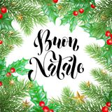 Buon Natale Italian Merry Christmas holiday hand drawn calligraphy text for greeting card of wreath decoration and Christmas stars. Garland frame. Vector Stock Photos