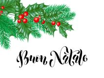 Buon Natale Italian Merry Christmas holiday hand drawn calligraphy text for greeting card of wreath decoration and Christmas vecto. R background design template Stock Image