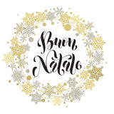 Buon Natale, Italian Merry Christmas text, greeting card Royalty Free Stock Photography