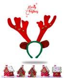 Buon Natale Maschera rossa divertente della renna di Natale con i corni Immagine Stock