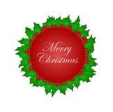 Buon Natale nel cerchio con le foglie sante di Natale Fotografia Stock