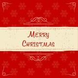 Buon Natale nel retro telaio beige, cartolina d'auguri Fotografia Stock