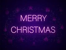 Buon Natale nelle lettere al neon Illustrazione di vettore illustrazione vettoriale