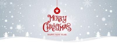 Buon Natale Nuovo anno felice Illustrazione di vettore iscrizione Fotografia Stock