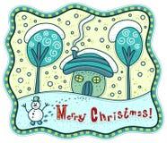 Buon Natale! Paesaggio di inverno Fotografia Stock