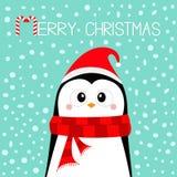 Buon Natale Pinguino che porta il cappello e la sciarpa rossi di Santa Claus Nuovo anno felice Carattere sveglio del bambino di k illustrazione vettoriale