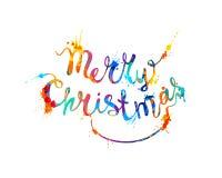 Buon Natale Pittura della spruzzata di scrittura della mano illustrazione vettoriale