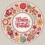 Buon Natale 2007 pozdrowienia karty szczęśliwych nowego roku Bożenarodzeniowy szablon Zima wakacje w Włochy Gratulacje na włoszcz Obrazy Royalty Free