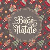 Buon Natale 2007 pozdrowienia karty szczęśliwych nowego roku Bożenarodzeniowy szablon Zima wakacje w Włochy Gratulacje na włoszcz Zdjęcia Stock