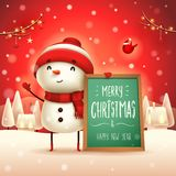 Buon Natale! Pupazzo di neve allegro con il forum nel paesaggio di inverno di scena della neve di Natale illustrazione di stock