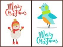 Buon Natale pupazzo di neve, illustrazione di vettore dell'uccello Fotografia Stock