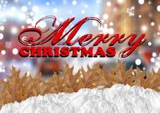 Buon Natale rosso con la città di offuscamento e neve e foglie Immagini Stock Libere da Diritti