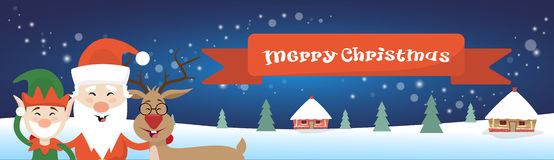 Buon Natale Santa Clause Reindeer Elf Character sopra la cartolina d'auguri del manifesto del villaggio della Camera della neve d Immagine Stock