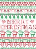 Buon Natale scandinavo, modello di cucitura compreso i fiocchi di neve, cuore, regalo di Natale, neve di Natale di inverno nordic royalty illustrazione gratis
