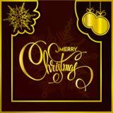 Buon Natale scritto a mano di frase dell'oro con i punti bianchi Fotografie Stock