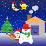 Buon Natale - sei alberi di Natale felice e degli amici Fotografia Stock Libera da Diritti