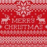 Buon Natale: Spirito tricottato senza cuciture del modello di stile scandinavo Fotografia Stock