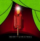 Buon Natale - stella di legno della cometa e della candela illustrazione di stock