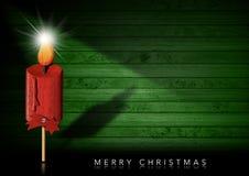 Buon Natale - stella di legno della cometa e della candela illustrazione vettoriale
