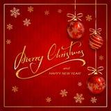 Buon Natale su fondo rosso con i fiocchi di neve ed il Natale Fotografia Stock Libera da Diritti