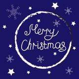 Buon Natale Testo con i fiocchi di neve illustrazione vettoriale