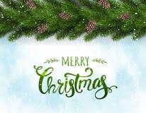 Buon Natale tipografico su fondo nevoso con la ghirlanda dei rami di albero decorati con le bacche, bokeh, fiocchi di neve illustrazione vettoriale