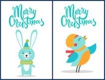 Buon Natale uccello e Bunny Vector Illustration Fotografia Stock