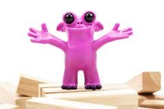 Buon primo piano rosa del mostro del plasticine Immagini Stock Libere da Diritti
