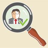 Buon zoom di vettore di approvazione della verifica degli antecedenti degli impiegati Fotografie Stock
