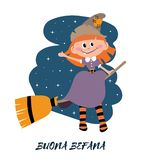 Buona Befana greeting cards with sitting Befana on a broomstick. Italian Christmas tradition. Holiday theme royalty free illustration