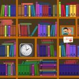 Buona biblioteca domestica Libri, enciclopedie, collezioni seamless illustrazione di stock