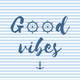 Buona cartolina di vettore di vibrazioni nello stile nautico fotografie stock libere da diritti