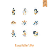 Buona Festa della Mamma icone Fotografia Stock Libera da Diritti