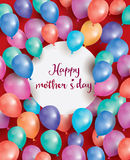Buona Festa della Mamma la carta con il cerchio bianco ed il volo balloon Immagini Stock