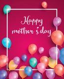 Buona Festa della Mamma la carta con la struttura bianca ed il volo balloon Fotografie Stock