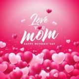 Buona Festa della Mamma la progettazione della cartolina d'auguri con cuore e vi ama elementi tipografici della mamma su fondo ro Immagine Stock