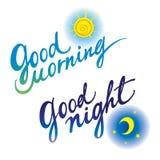 Buona notte di buongiorno Immagine Stock Libera da Diritti