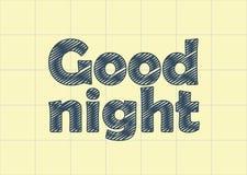 Buona notte nella carta del taccuino, graffio Fotografia Stock