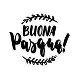 Buona Pasqua- lycklig påsk i italienare, dragen hand märka kalligrafiuttryck som isoleras på den vita bakgrunden Gyckel stock illustrationer