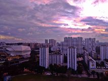 Buona Vista. Aerial view of Star Vista and residential buildings at Buona Vista, Ghim Moh and Holland Village under sunset sky in Singapore stock images