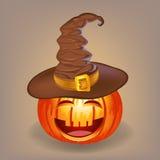 Buona zucca in un cappello della strega per Halloween Fotografie Stock Libere da Diritti