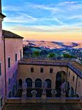 Buonaccorsi Palace and hills, landscape in Macerata, Marche, Italy. Colours, roof, splendid view, luxury and art, design and aristocratic architecture, history royalty free stock image