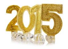 2015 buoni anni dorato sui precedenti bianchi Fotografia Stock