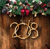 2018 buoni anni e pagina di Buon Natale con neve e il rea Immagini Stock