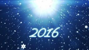 2016 buoni anni, fondo di festa con i fiocchi di neve contro il blu royalty illustrazione gratis