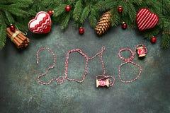 2018 buoni anni, fondo festivo Vista superiore Fotografia Stock Libera da Diritti