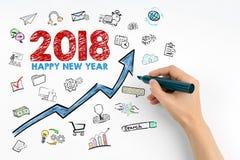 2018 buoni anni Mano con scrittura dell'indicatore Immagini Stock Libere da Diritti