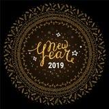 2019 buoni anni Modello scritto a mano di progettazione del testo E Illustrazioni di clipart di vettore illustrazione di stock